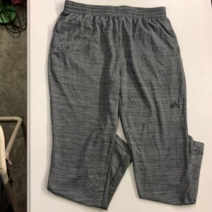 These are gray Adidas sweatpants